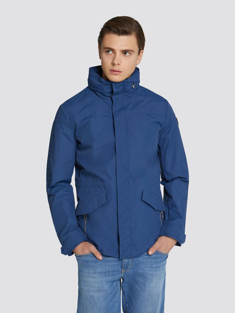 Regular fit hooded technical nylon jacket