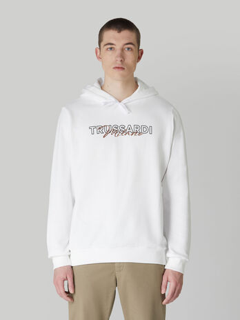 Regular-fit cotton hoody with lettering