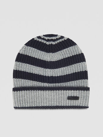 Striped wool blend hat