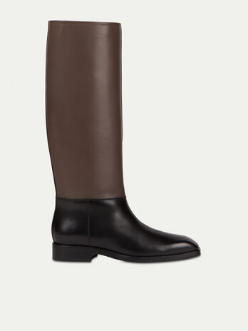 Two tone plain leather boots
