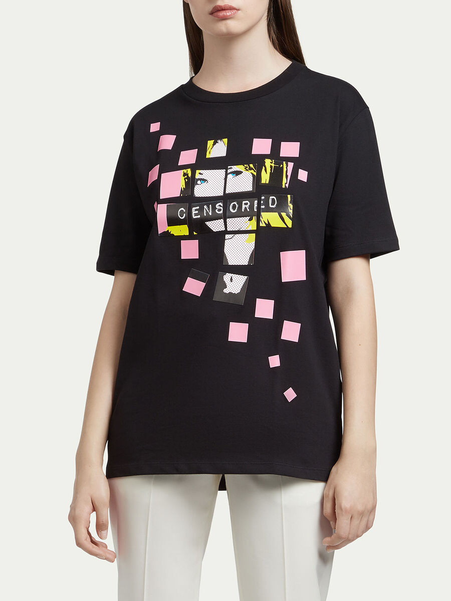 Jersey T shirt with pop art print