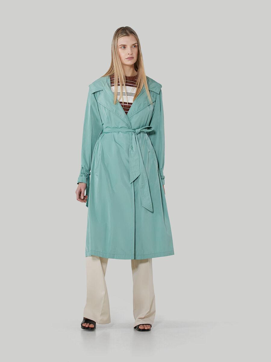 Technical fabric overcoat with hood