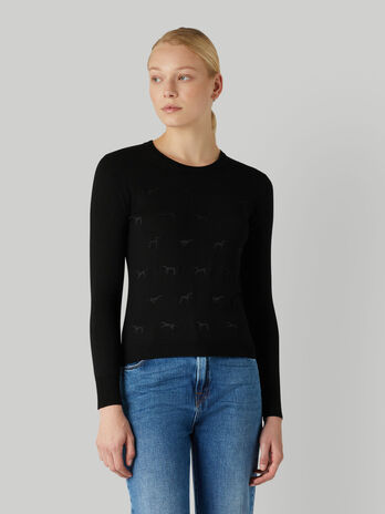 Pure wool pullover with Levriero embroidery