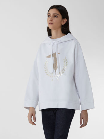 Cotton hoody with monogram