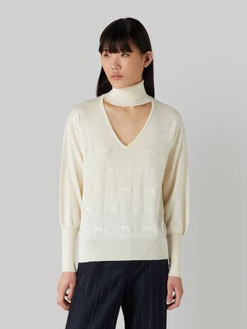 Pullover in pura lana con scollo a V