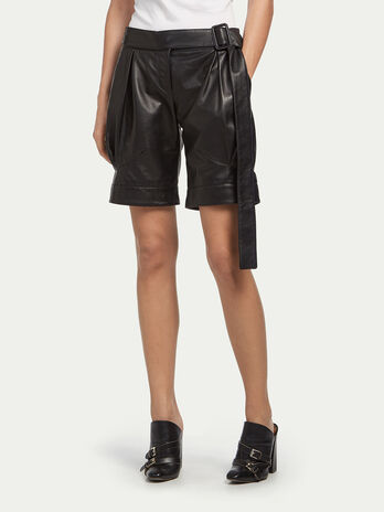 Lambskin shorts with belt