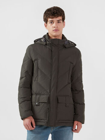 Parka imbottito regular fit in nylon opaco