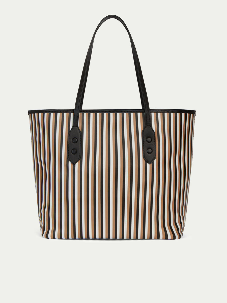 Shopping bag in pelle con stampa rigata multicolor
