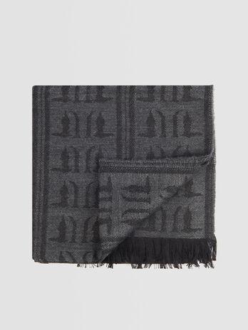 Monogram wool blend pashmina