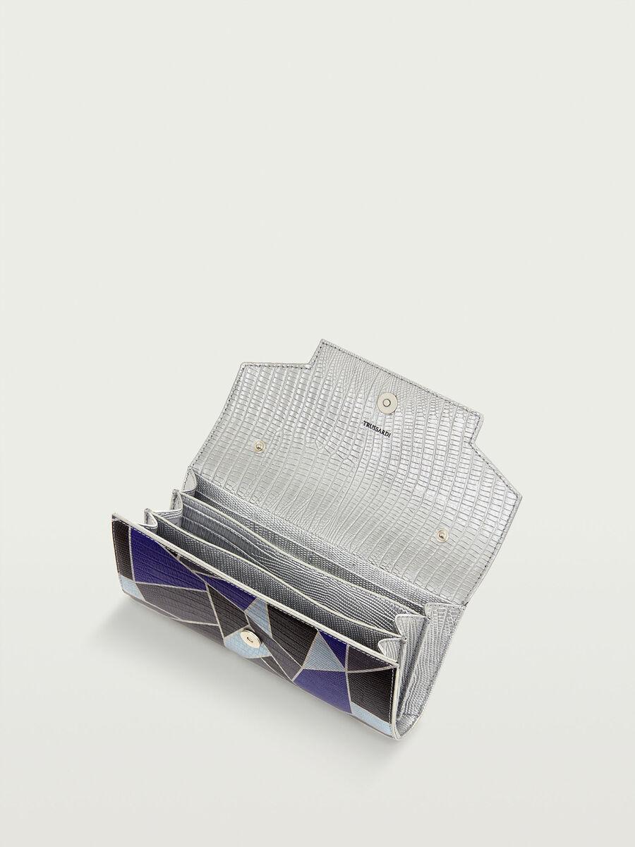Pochette laminata mosaico con stampa lucertola