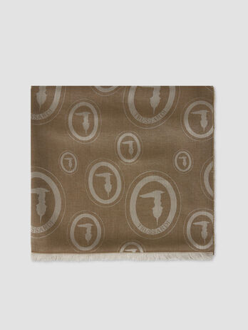 Pashmina with jacquard monogram pattern
