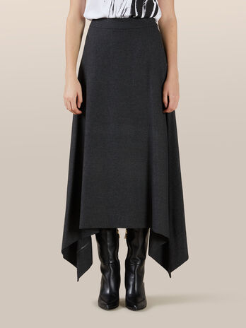 Asymmetrical skirt in wool flannel
