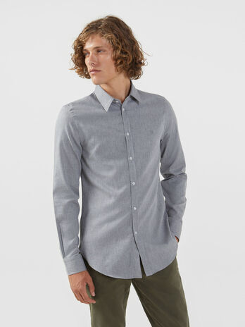 Regular fit cotton shirt with Miami collar