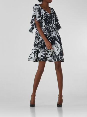 Robe courte en satin avec imprime graphique a fleurs