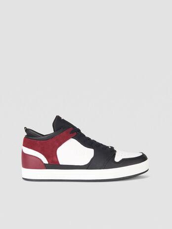 Sneaker aus Kunst und Veloursleder mit Logopraegung