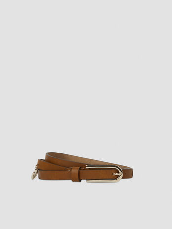 Thin belt with monogram tag