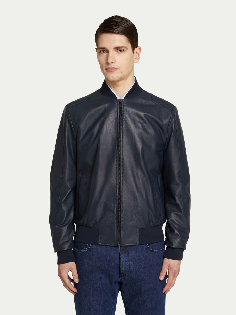 Regular fit leather bomber jacket with maxi lettering