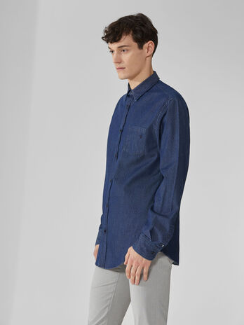 Camicia regular fit in denim jacquard