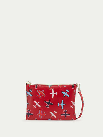 Airplane detailed calfskin clutch with shoulder strap