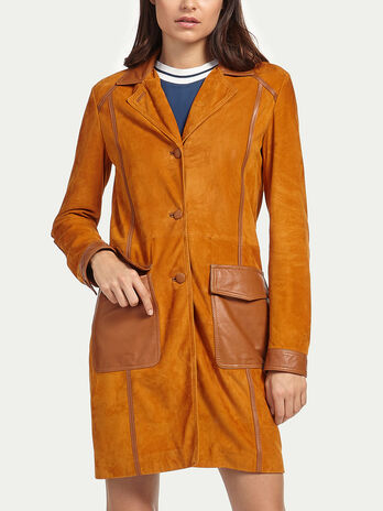 Manteau de cuir de chevre suede