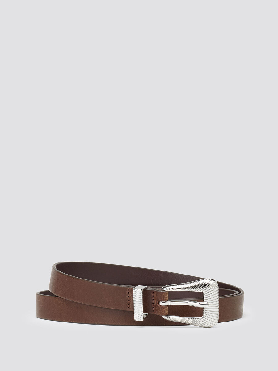Leather belt with decorated buckle