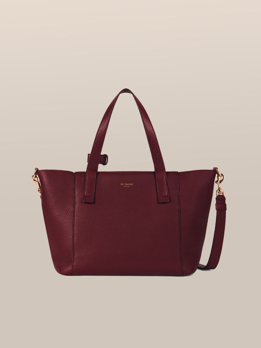 Leather Olivia satchel with logo