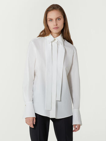 Regular fit poplin shirt with scarf detail