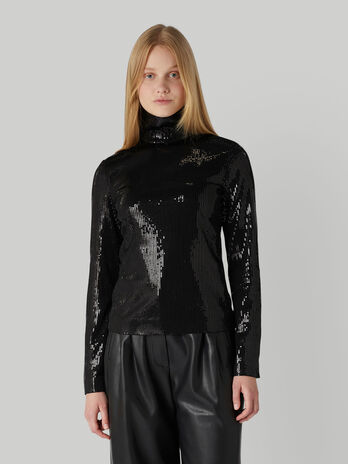 Sequinned polo-neck blouse