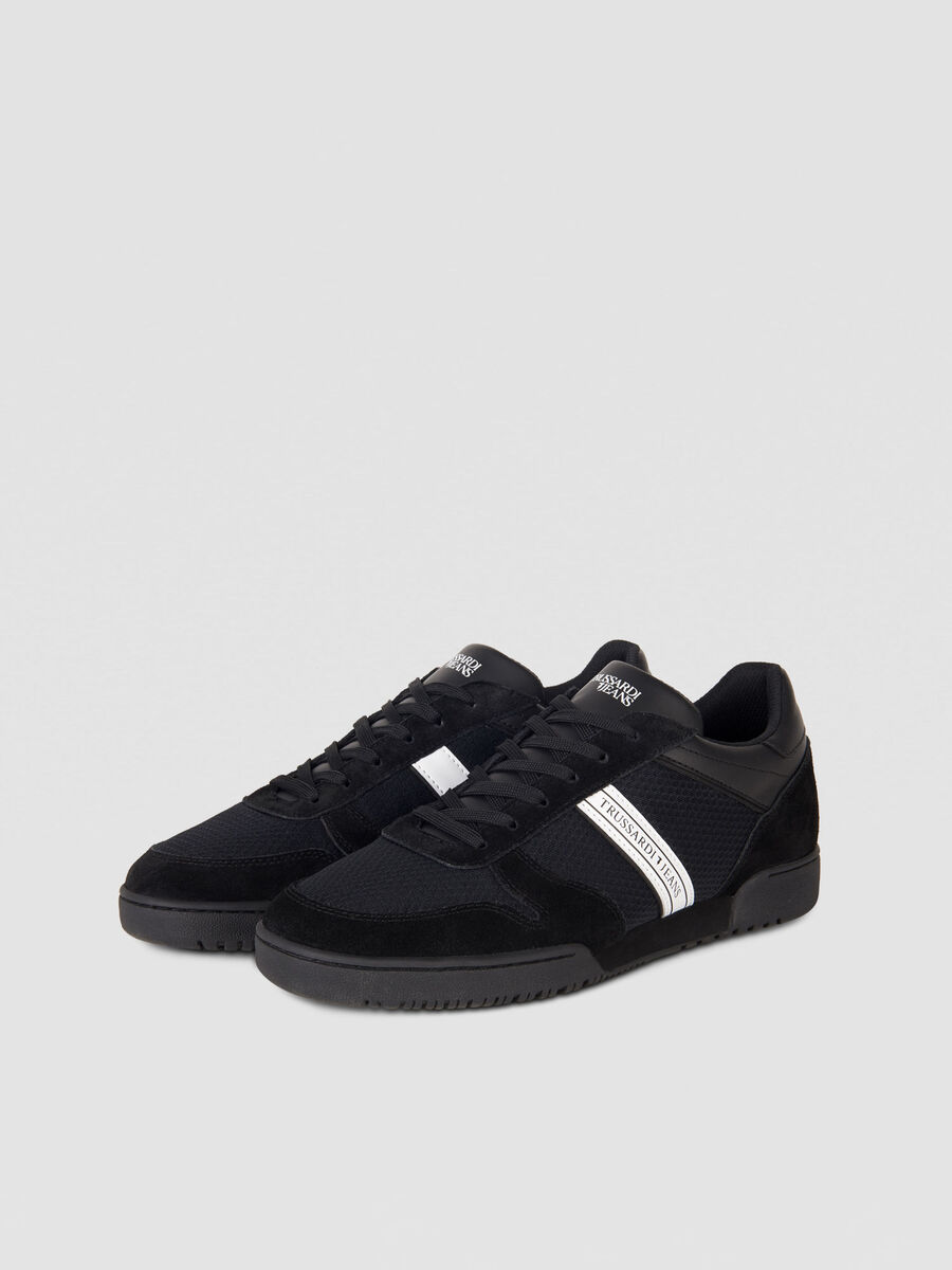 Suede sneakers with logo stripe