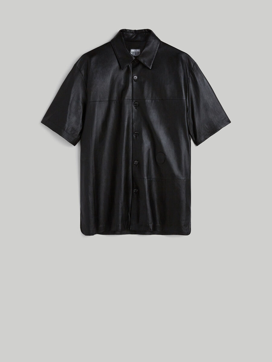 Oversized leather shirt with short sleeves