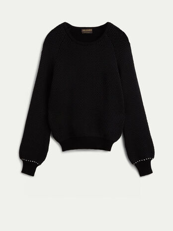 Cotton and viscose crew neck pullover