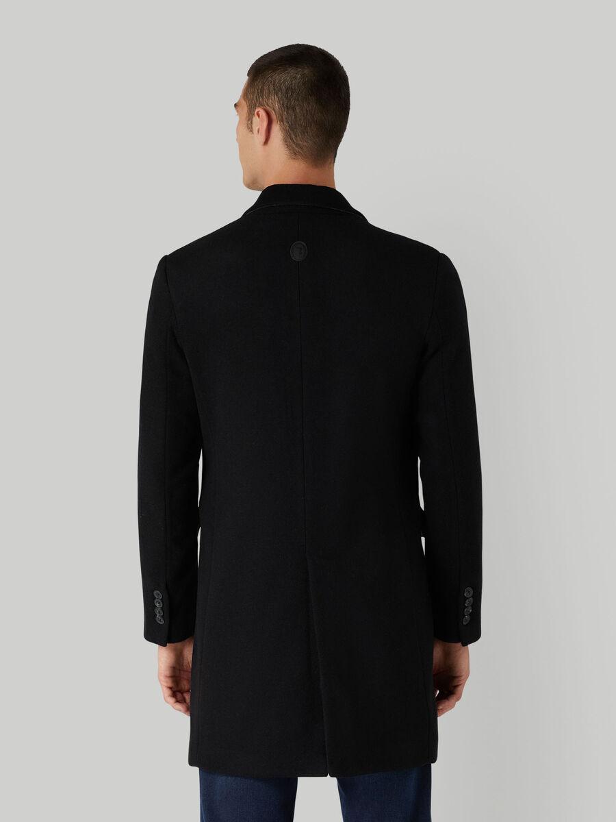 Single-breasted wool-blend coat