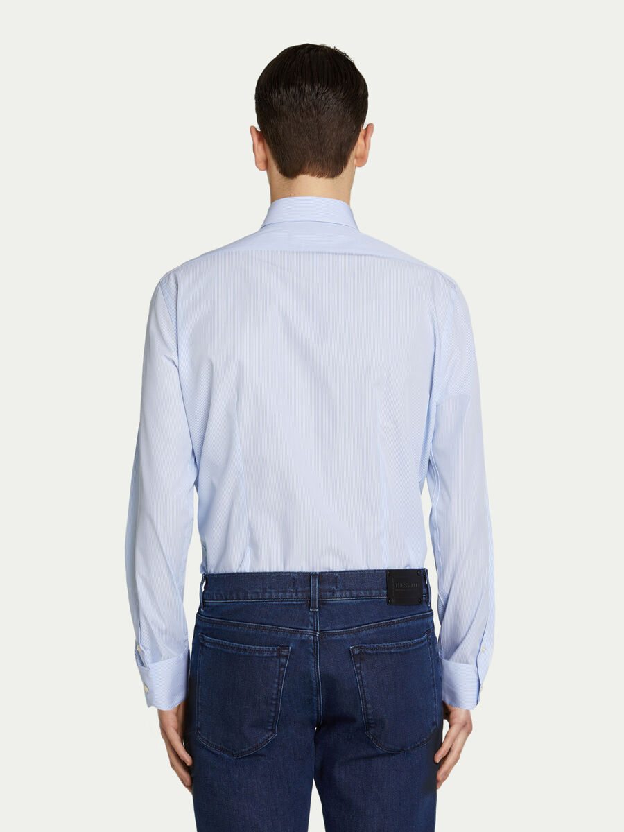 Cotton shirt with mini stripes