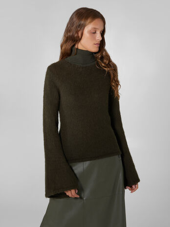 Pullover a collo alto in lana e mohair