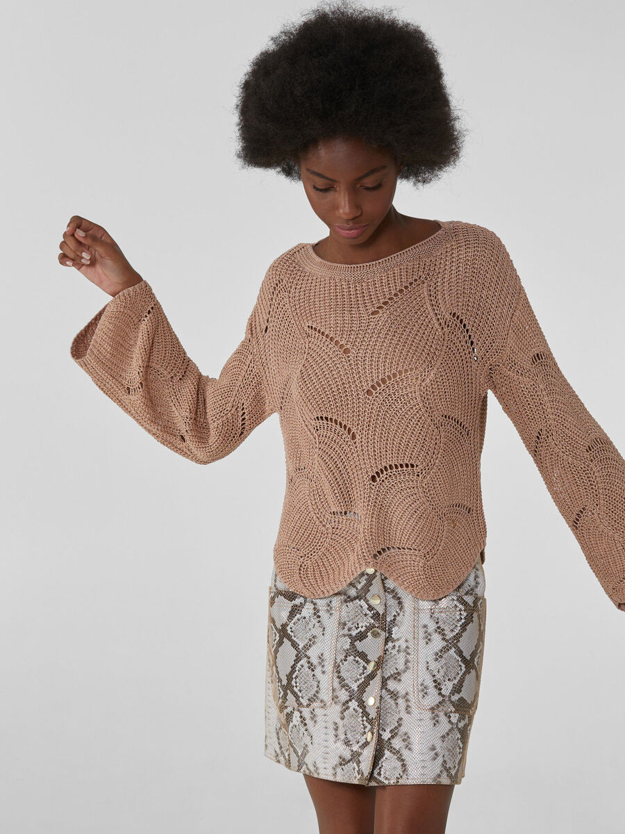 Perforated crew-neck jumper in a viscose blend