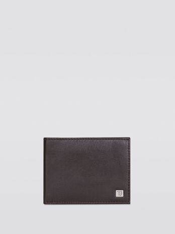 Grainy effect side opening wallet with logo