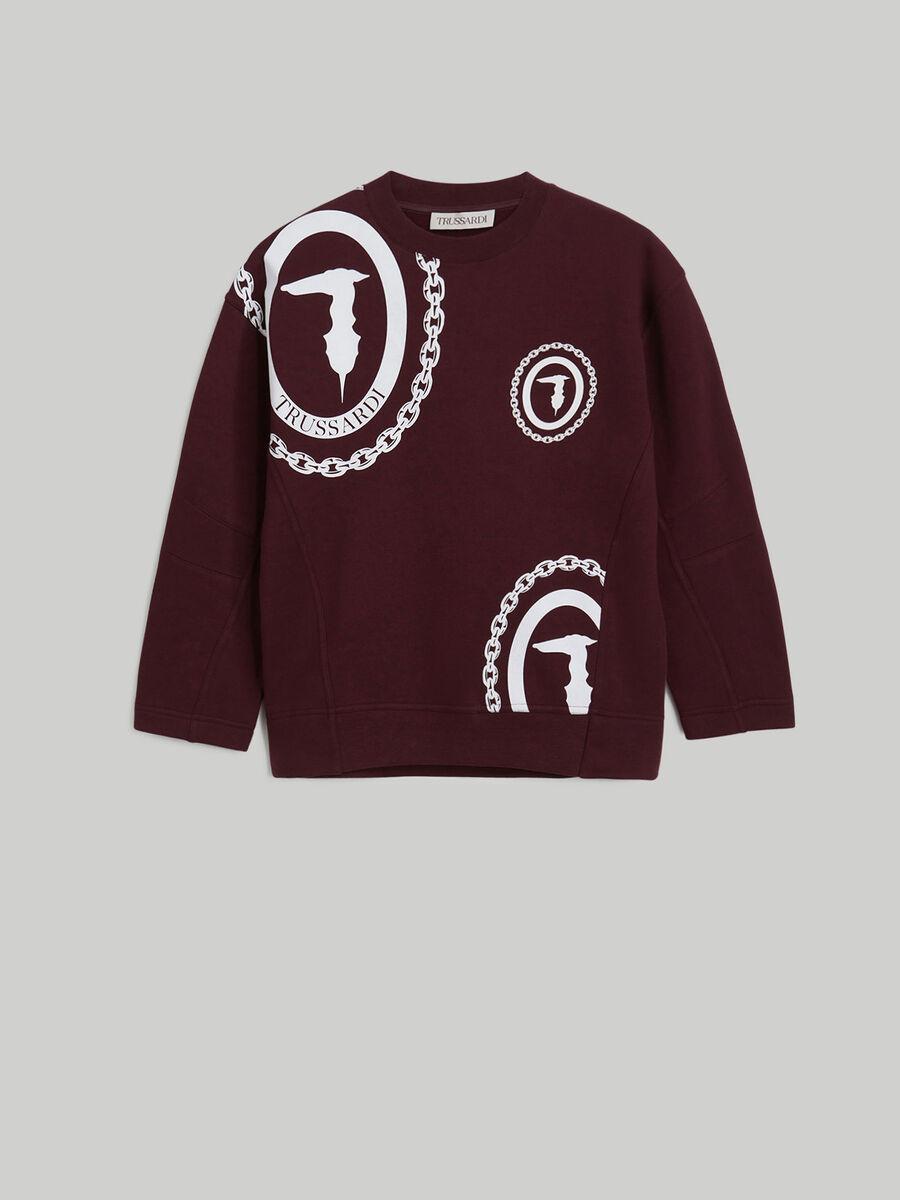 Oversized cotton sweatshirt with monogram logo