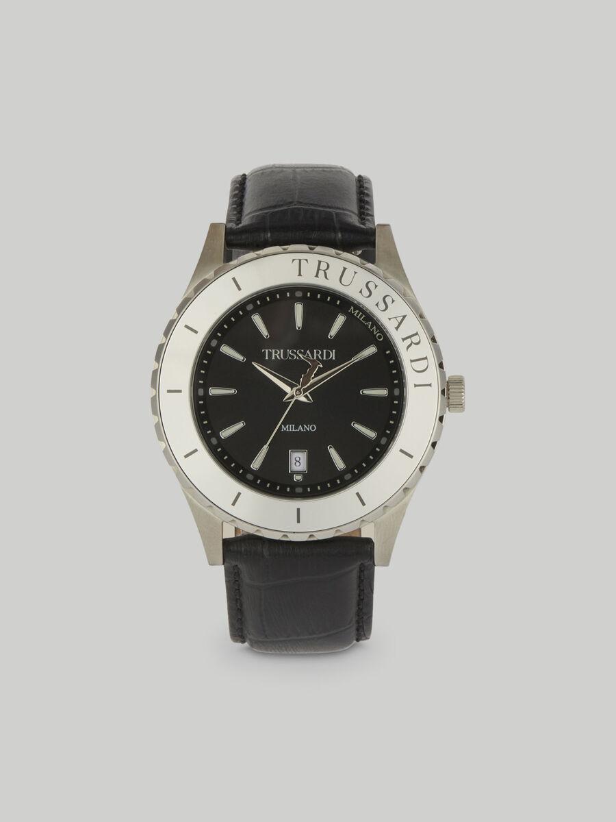 Armbanduhr T-Logo 43MM mit Lederarmband