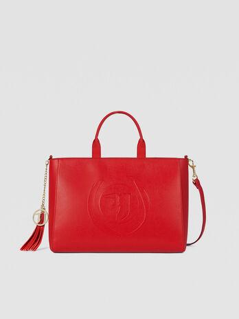 Shopping bag Faith large in similpelle con logo