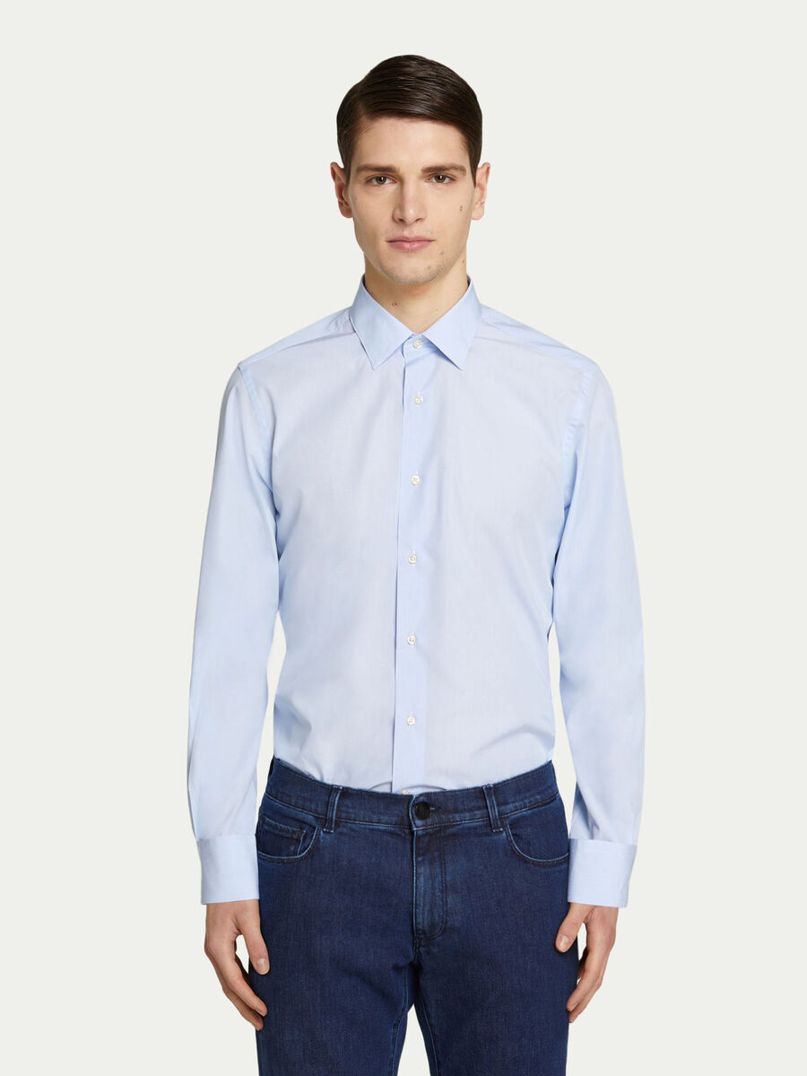 Solid colour cotton shirt with a classic collar