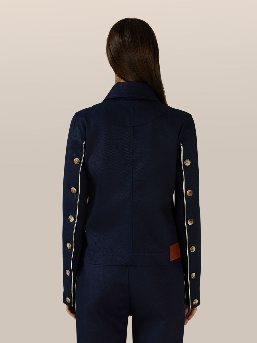Cotton biker jacket with button details