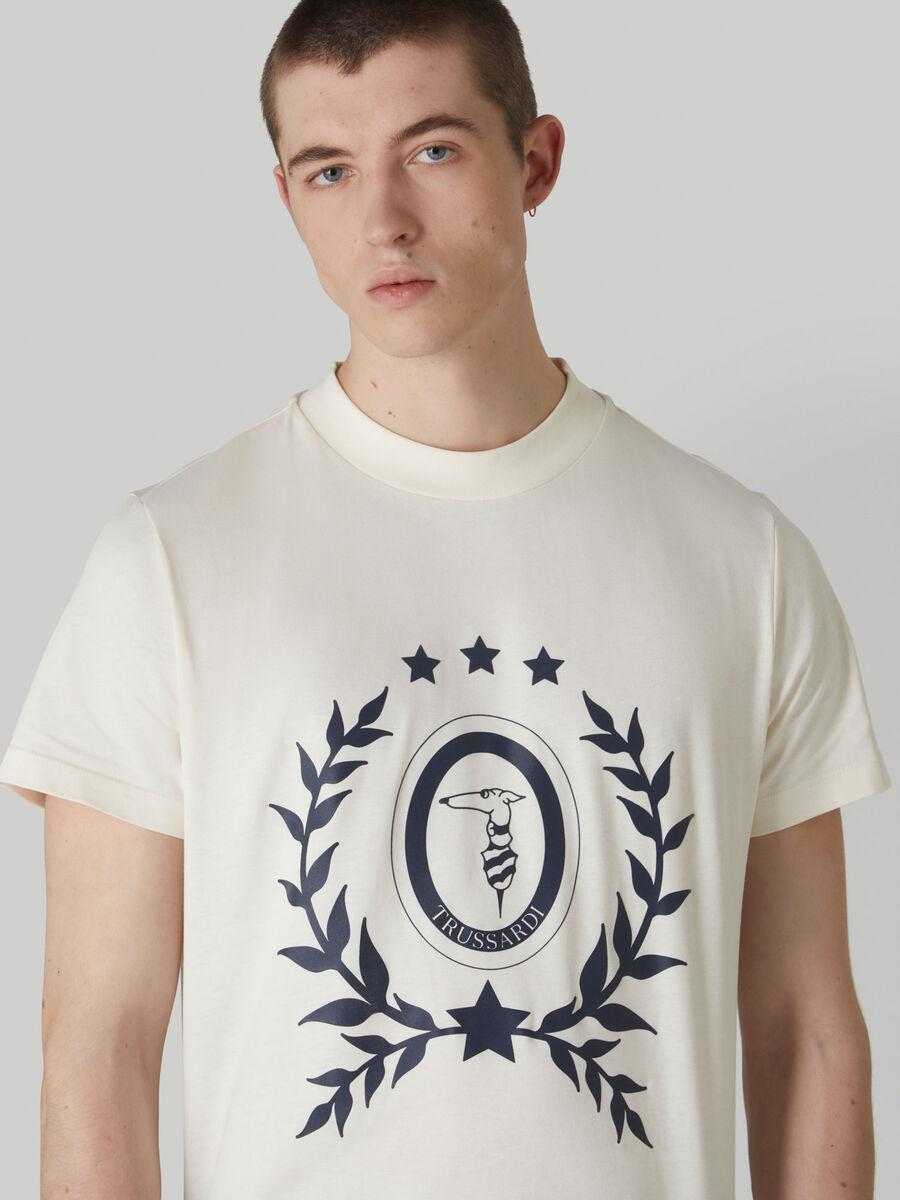 Pure cotton boxy-fit T-shirt with Levriero print