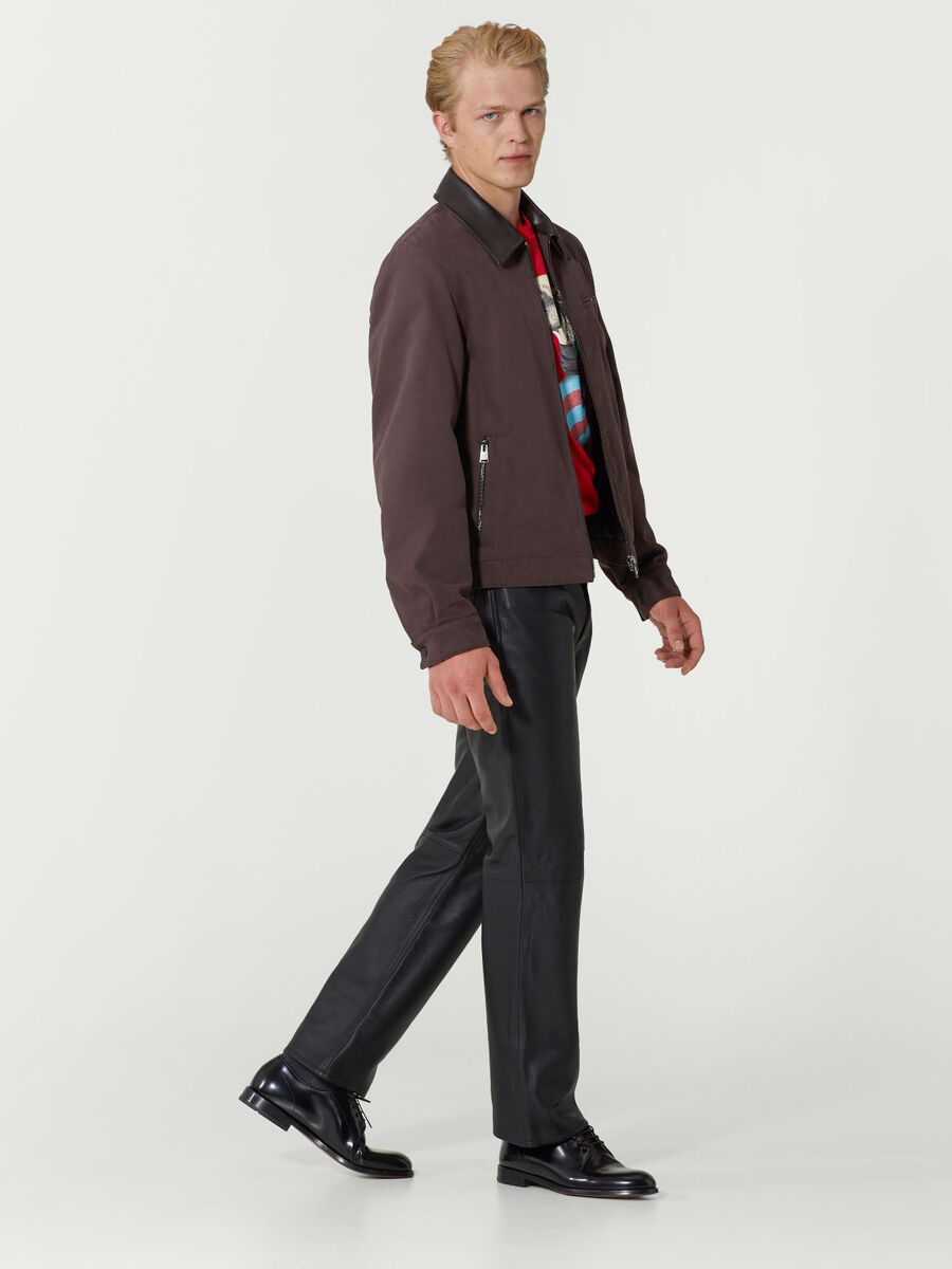 Pantalone regular fit in pelle