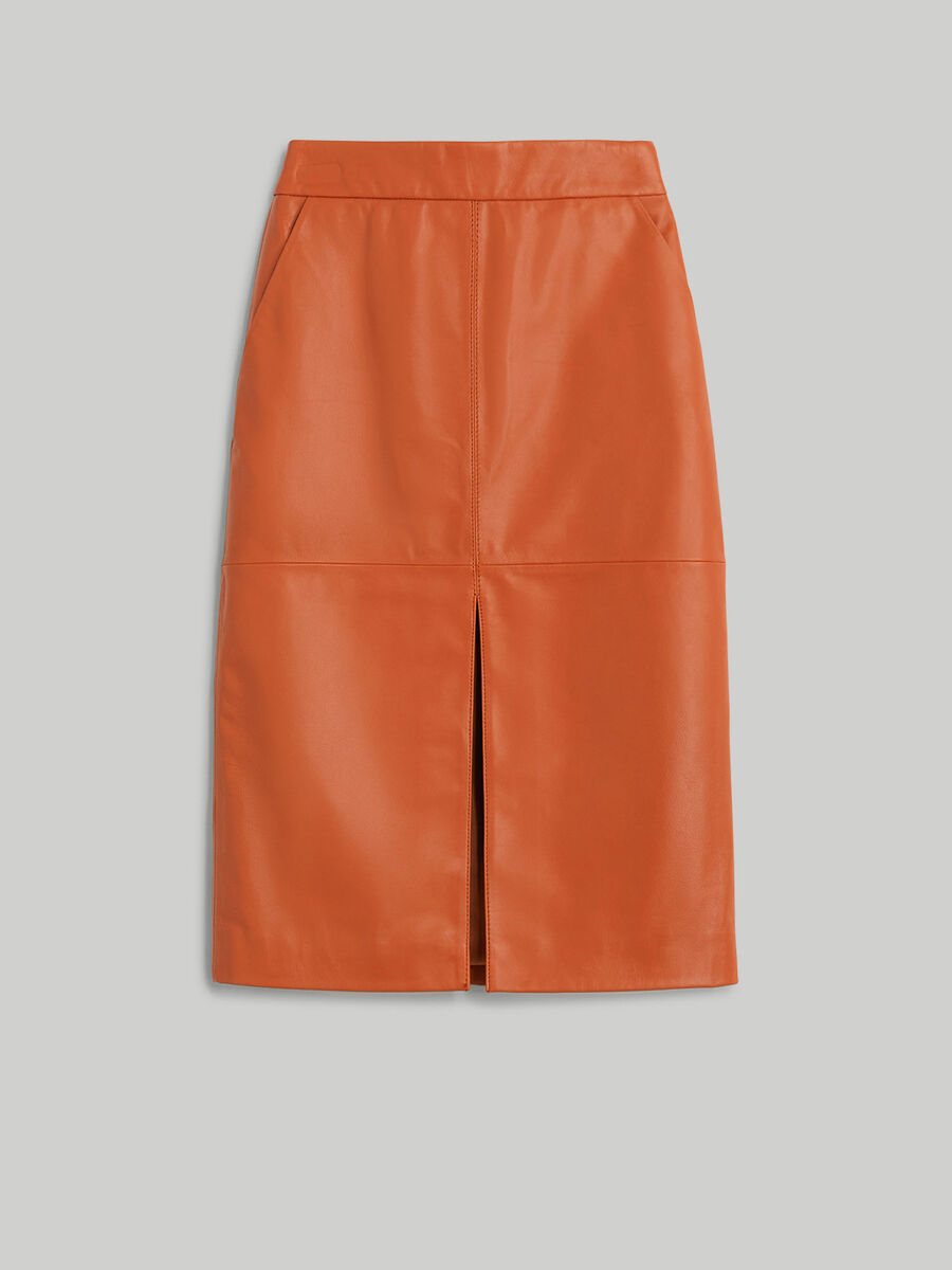 Soft leather pencil skirt
