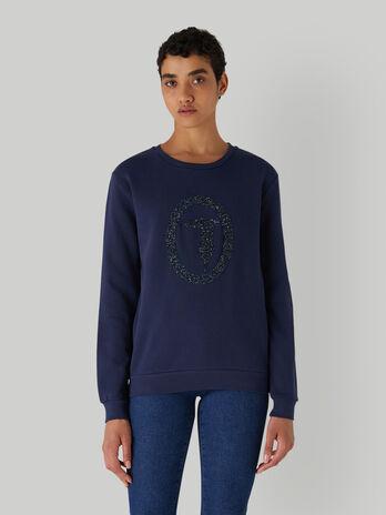 Regular-fit sweatshirt with micro-crystals