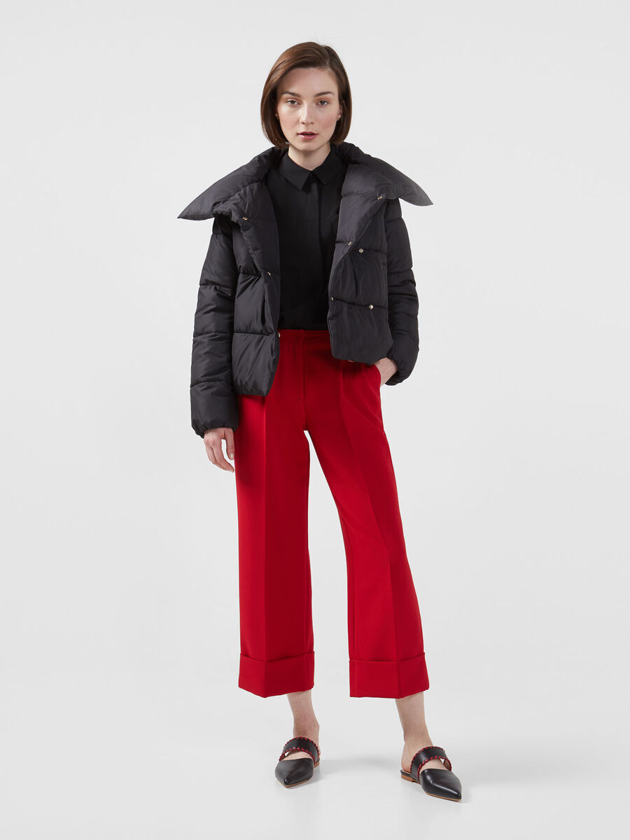 Cropped technical cady trousers