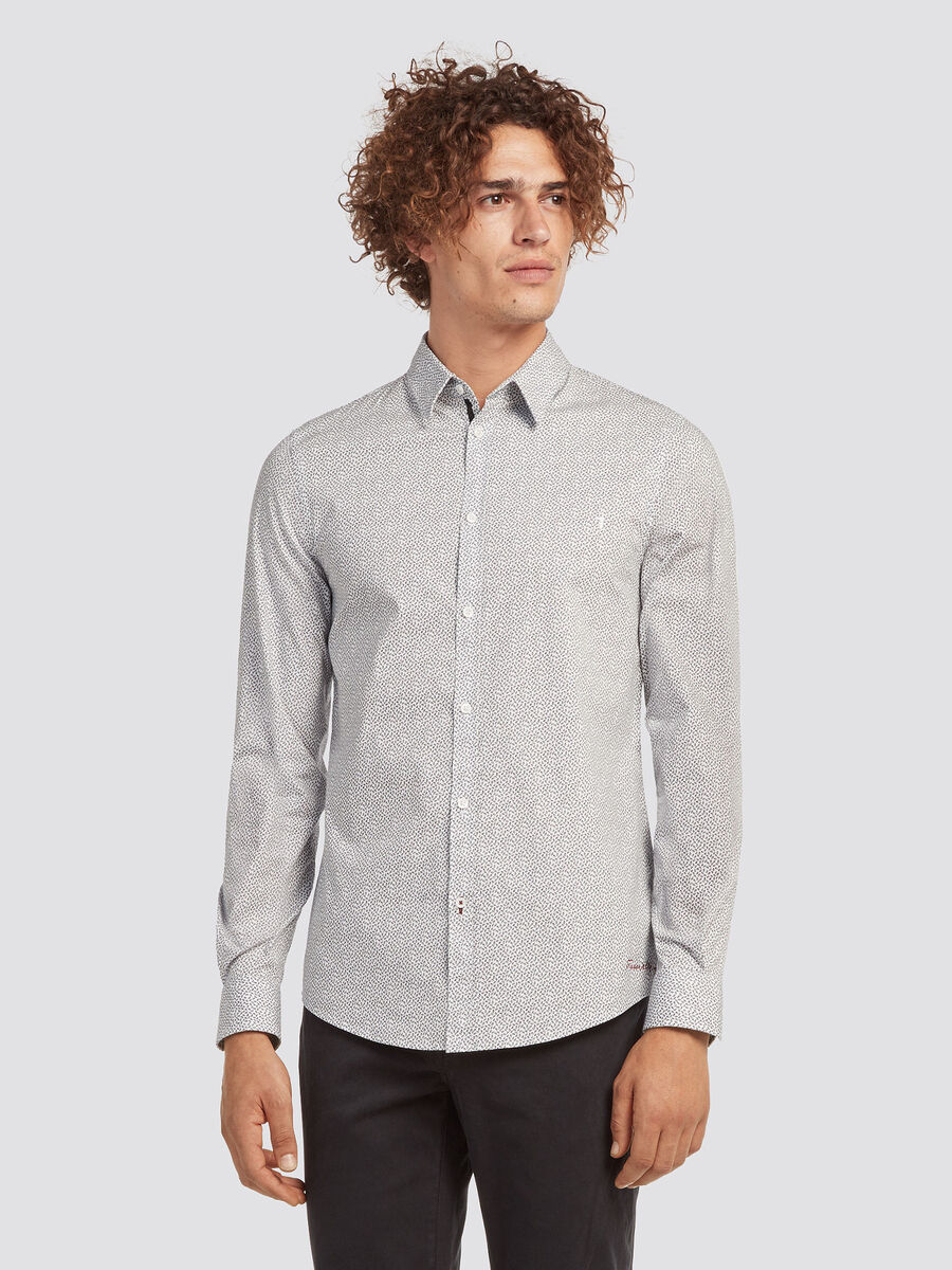 Slim fit stretch poplin shirt with micro polka dots