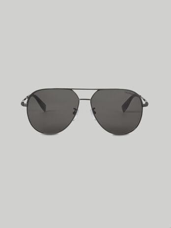 Occhiali da sole aviator in titanio argentato scuro
