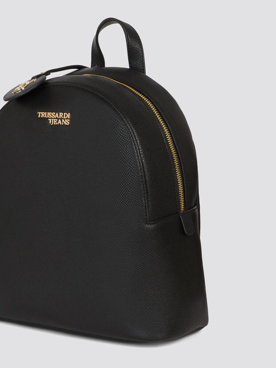 Mochila T-Easy Light mediana en saffiano con logotipo