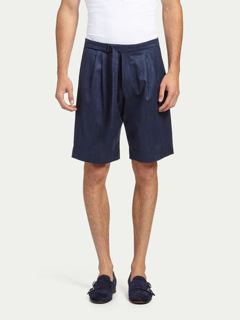 Belted bamboo weave bermuda shorts